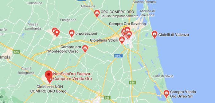 Mappa Compro Oro a Ravenna e Provincia