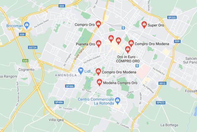 Mappa dei compro oro a Modena