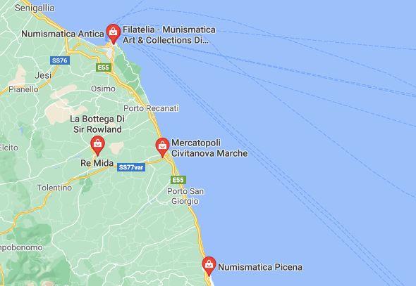 Mappa Negozi di Numismatica Regione Marche