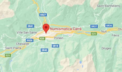 Mappa Negozi di Numismatica a Aosta