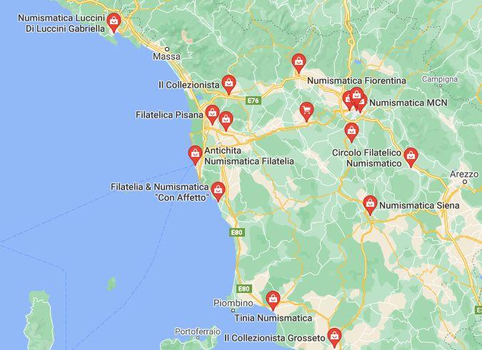 Mappa Negozi di Numismatica in Toscana